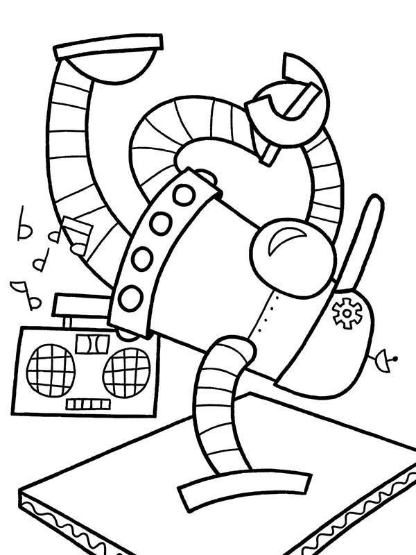 Robots, : Break Dance Robot Coloring Pages