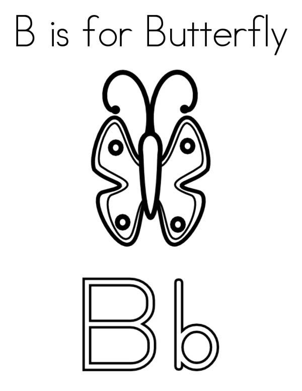 Letter B, : Butterfly for Letter B Coloring Page
