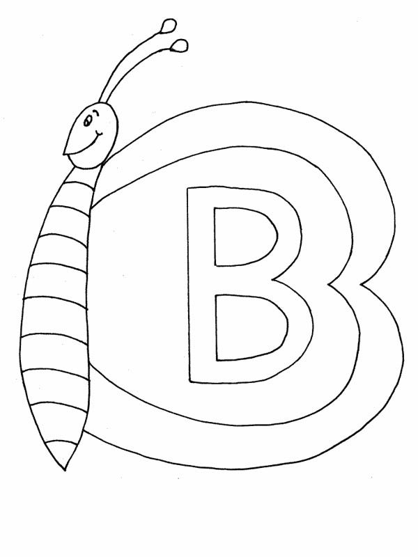 Letter B, : Butterfly on Letter B Coloring Page for Preschool Kids