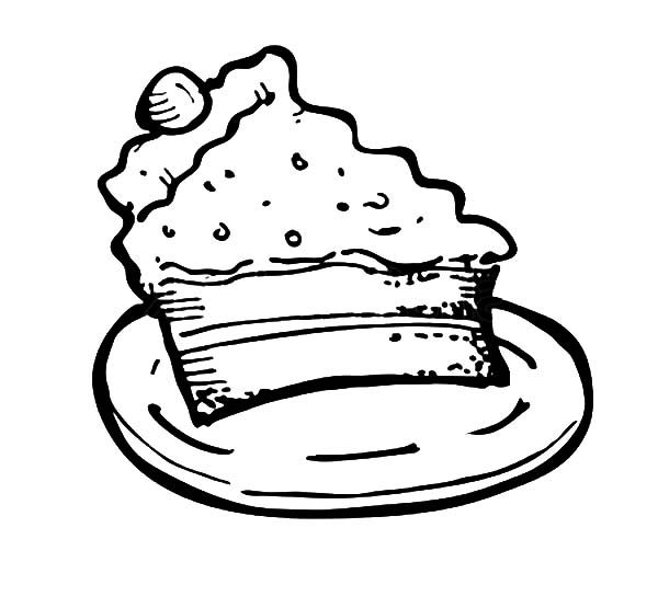 Cake Slice, : Cake Slice for Kids Coloring Pages