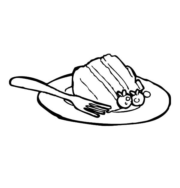 Cake Slice, : Cake Slice on Plate with Fork Coloring Pages