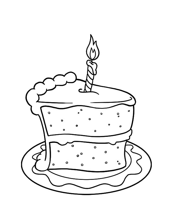 Cake Slice with Candle on It Coloring Pages: Cake Slice with Candle ...
