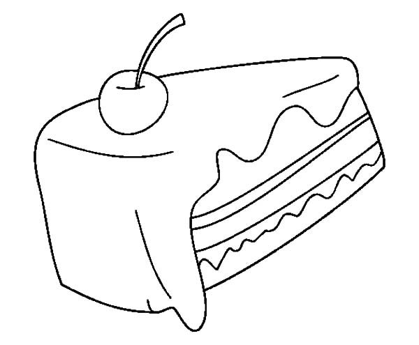 Cake Slice, : Cake Slice with Cherry Fruit Coloring Pages
