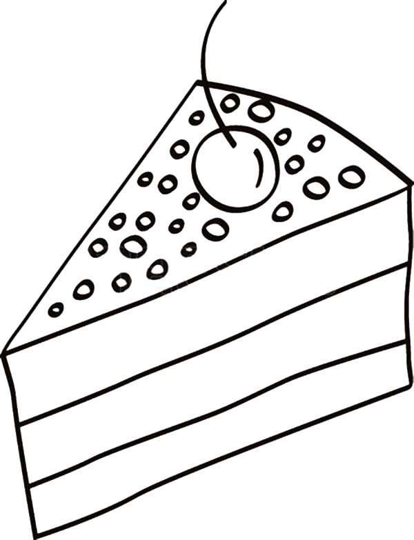 Cake Slice, : Cake Slice with Cherry on Top Coloring Pages