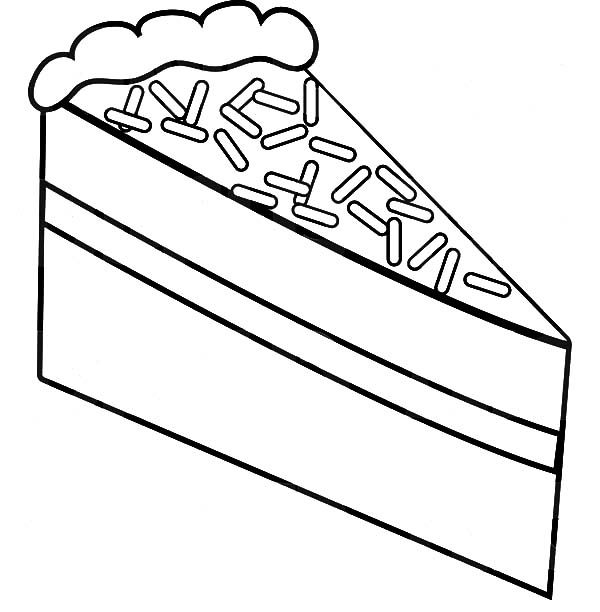 Cake Slice, : Cake Slice with Chocolate Topping Coloring Pages