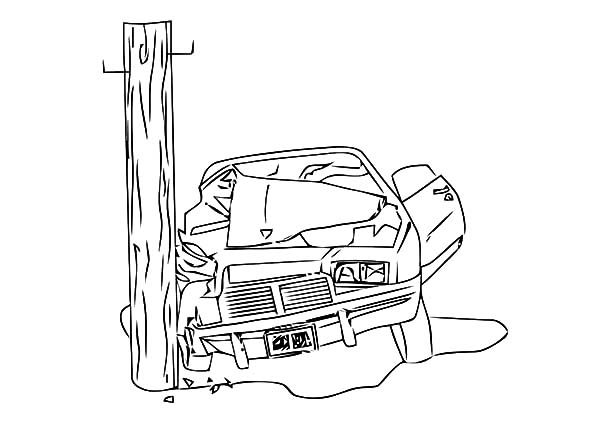 Colouring Pages Of Car Crash : Camaro cars crashing electricity pole coloring pages