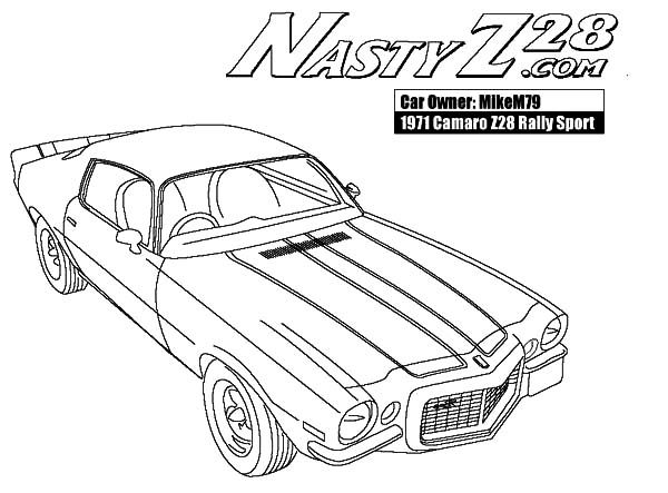 Camaro Cars, : Camaro Cars Nasty Z28 Coloring Pages