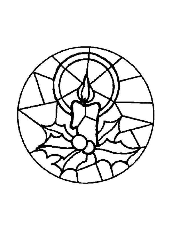 Christmas Mandala, : Candle Light Mandala Christmas Coloring Pages