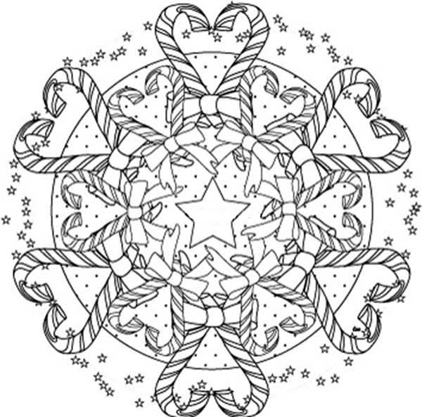 Christmas Mandala, : Candy Cane Mandala Christmas Coloring Pages