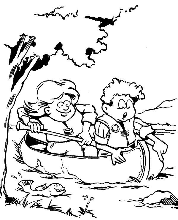 Scouting, : Canoeing to Catch Fish in Scouting Coloring Pages