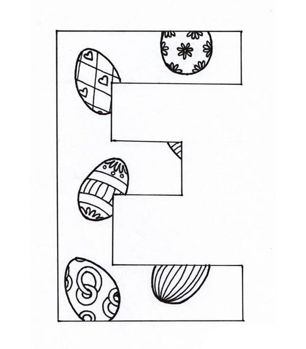 Letter E, : Capital Case Letter E Coloring Page