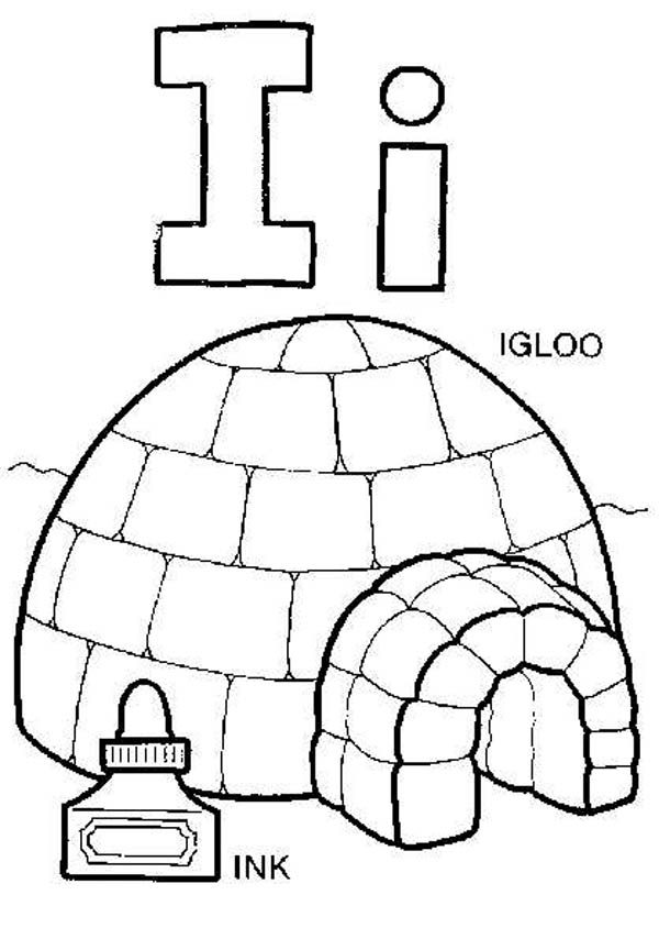 Letter I, : Capital Letter I for Igloo Coloring Page