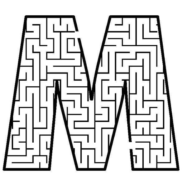 Letter M, : Capital Letter M Maze Coloring Page