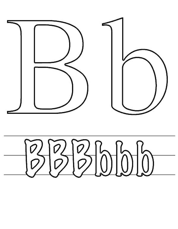 Letter B, : Capital and Small Letter B Coloring Page for Preschool Kids