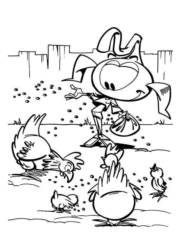 Snorkels, : Casey Feeding Chickens at Barn in Snorkels Coloring Pages