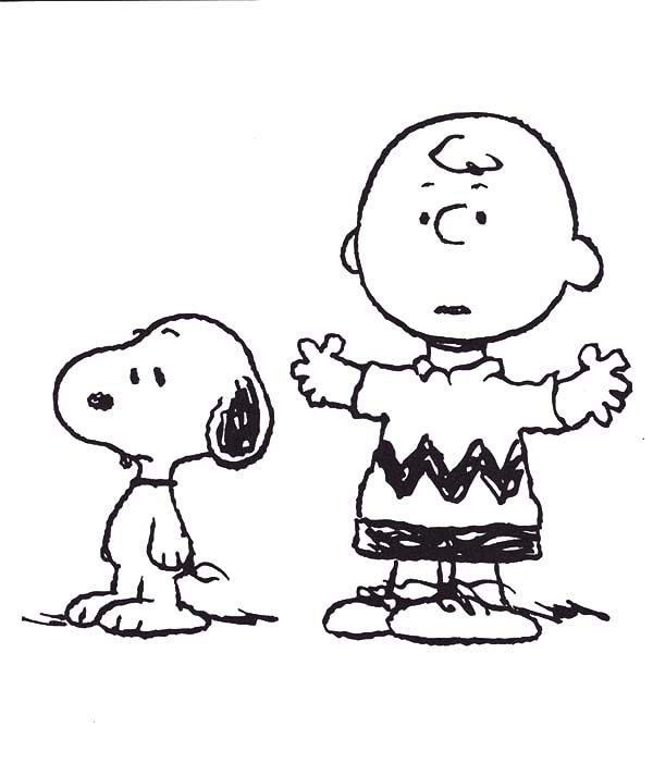 Charlie Tell A Story To Snoopy Coloring Pages