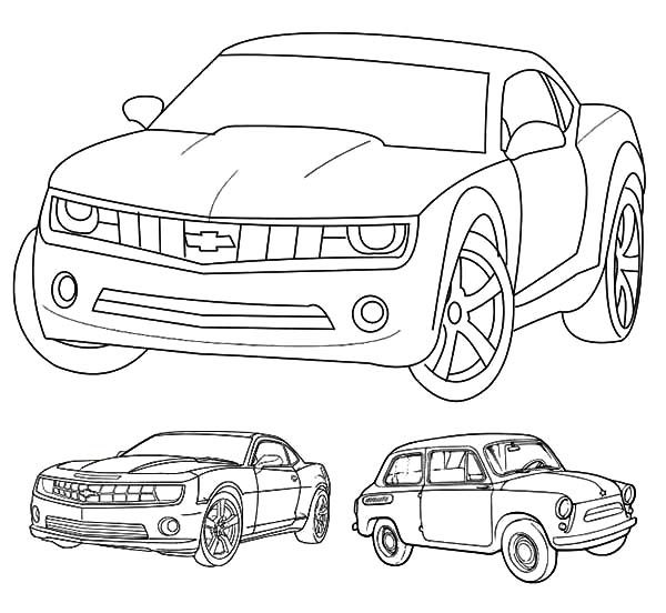 Camaro Cars, : Chevrolet Camaro Cars Evolutions Coloring Pages