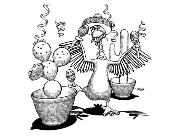 Cinco de Mayo, : Chicken Play Maracas in Cinco de Mayo Coloring Pages