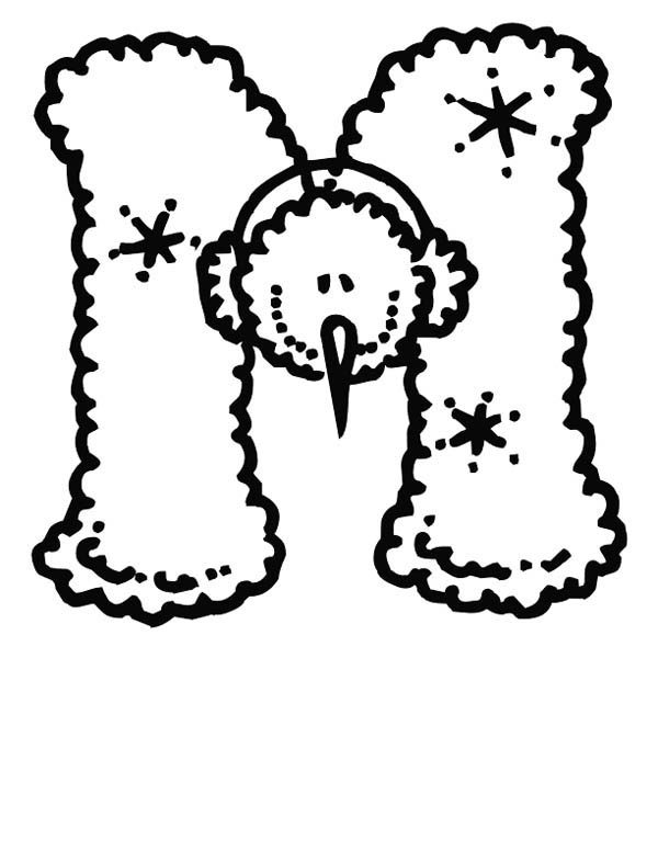 Letter M, : Christmas Letter M Coloring Page