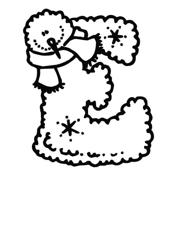 christmas preschool learning letter e coloring page