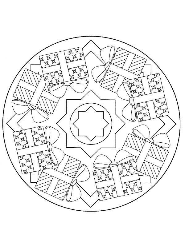 Christmas Mandala, : Christmas Presents Mandala Christmas Coloring Pages