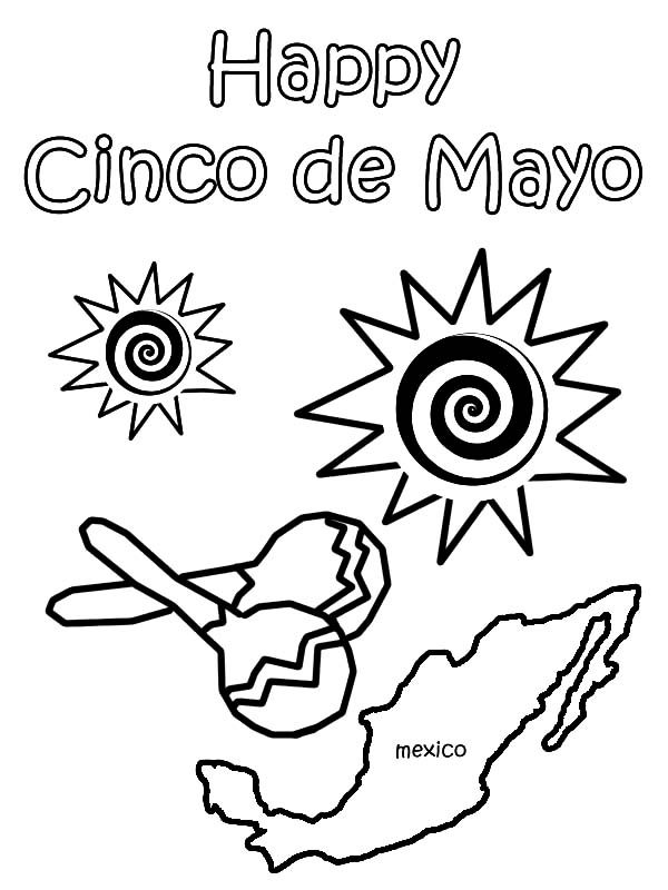 Cinco de Mayo, : Cinco de Mayo for Mexican People Coloring Pages