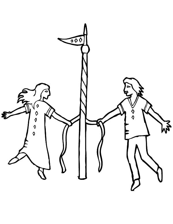 May Day, : Couple Maypole Dance May Day Coloring Pages