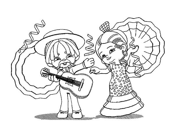 Cinco de Mayo, : Cute Couple Cinco de Mayo Coloring Pages