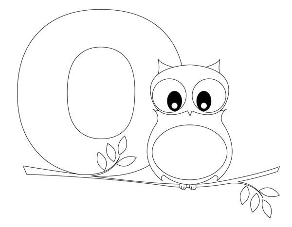 Letter O, : Cute Owl for Letter O Coloring Page