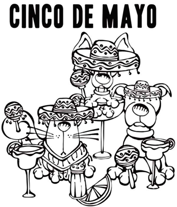 Cinco de Mayo, : Dog Bands Play for Cinco de Mayo Coloring Pages