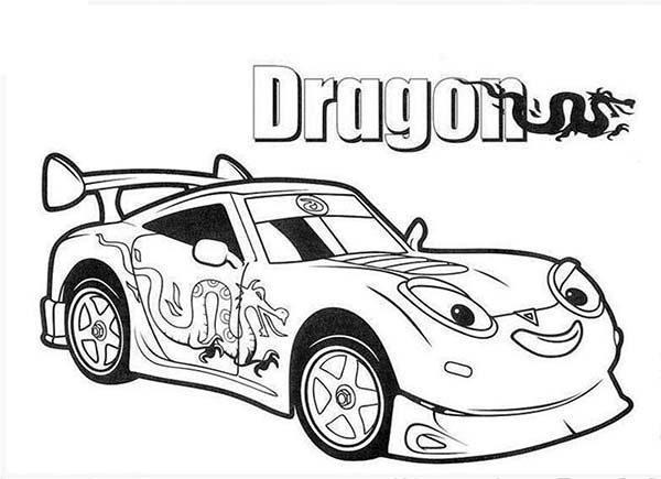 Roary the Racing Car, : Drifter AKA Dragga the Drift Racing Car in Roary the Racing Car Coloring Pages