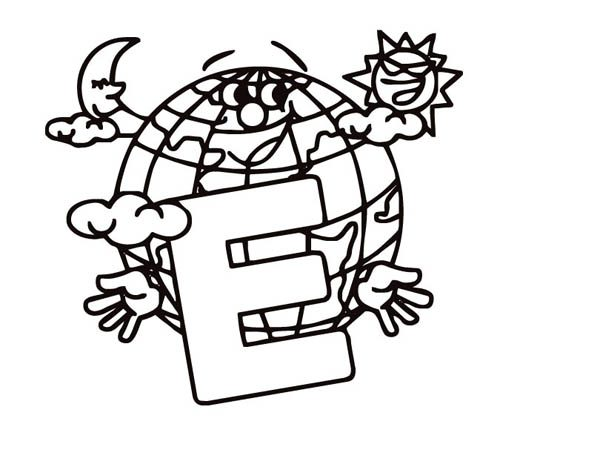 Letter E, : Earth for Learning Letter E Coloring Page