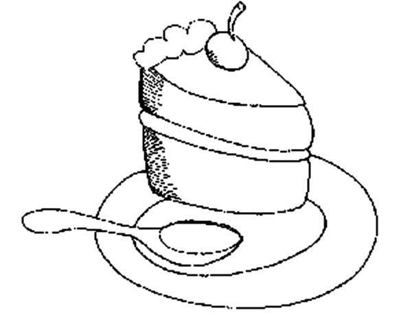 Cake Slice, : Eating Cake Slice with Spoon Coloring Pages