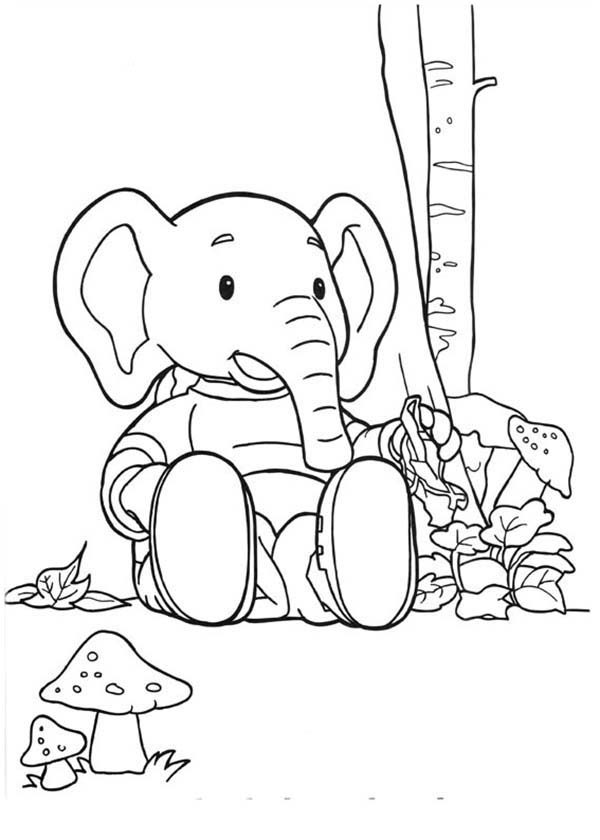 Rupert Bear, : Edward Trunk Sitting Waiting for Rupert Bear Coloring Pages