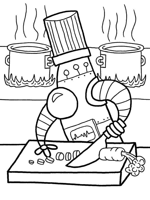 Robots, : Famous Robot Chef Coloring Pages