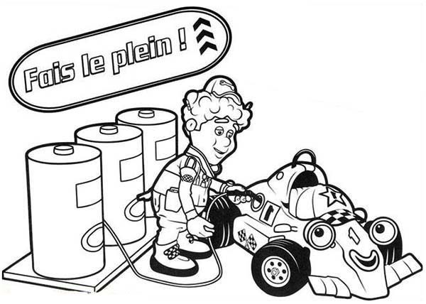 Roary the Racing Car, : Filling Gas Tank in Roary the Racing Car Coloring Pages