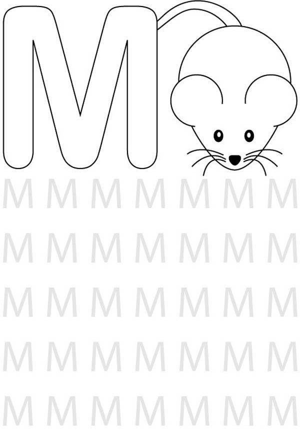Letter M, : Find Letter M for Mouse Coloring Page 2