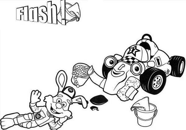 Roary the Racing Car, : Flash and Roary the Racing Car Washing Car Coloring Pages