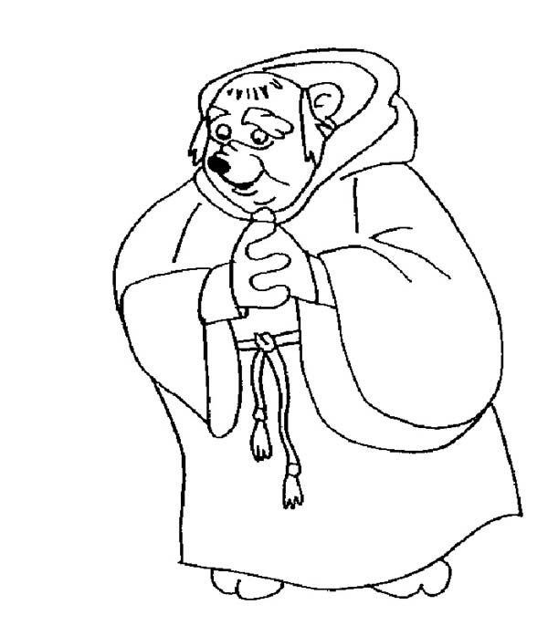 Robin Hood, : Friar Tuck Bow His Head in in Robin Hood Coloring Pages