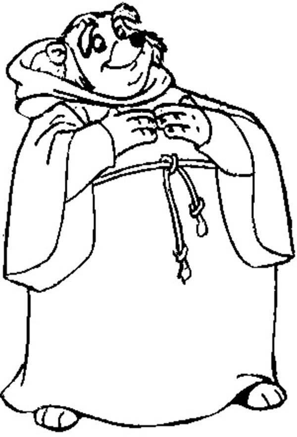 friar tuck the kind hearted priest from in robin hood coloring pages - Disney Robin Hood Coloring Pages