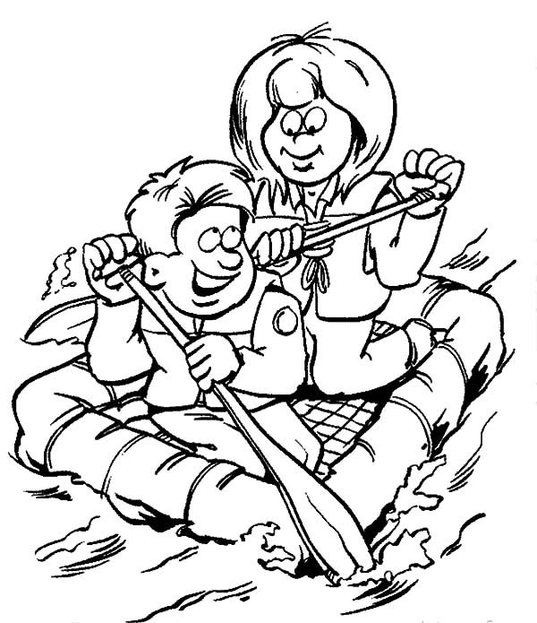 Scouting, : Fun Water Activities with Scouting Coloring Pages