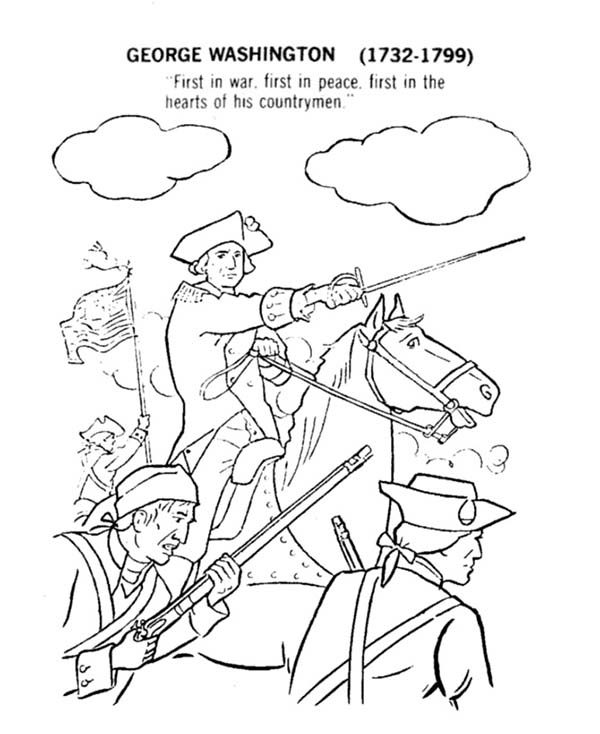 Independence Day, : George Washington Fights for 4th July Independence Day Coloring Page