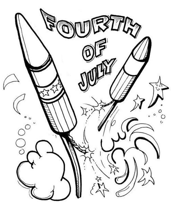 Independence Day, : Great Fireworks Show on 4th July Independence Day Coloring Page