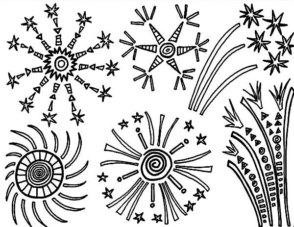 Independence Day, : Great Fireworks in the Sky on 4th July Independence Day Coloring Page