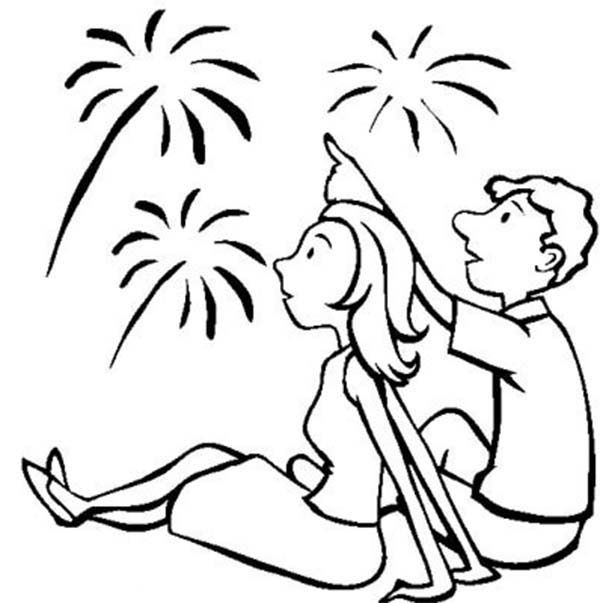 Independence Day, : Great Fireworks on 4th July Independence Day Coloring Page