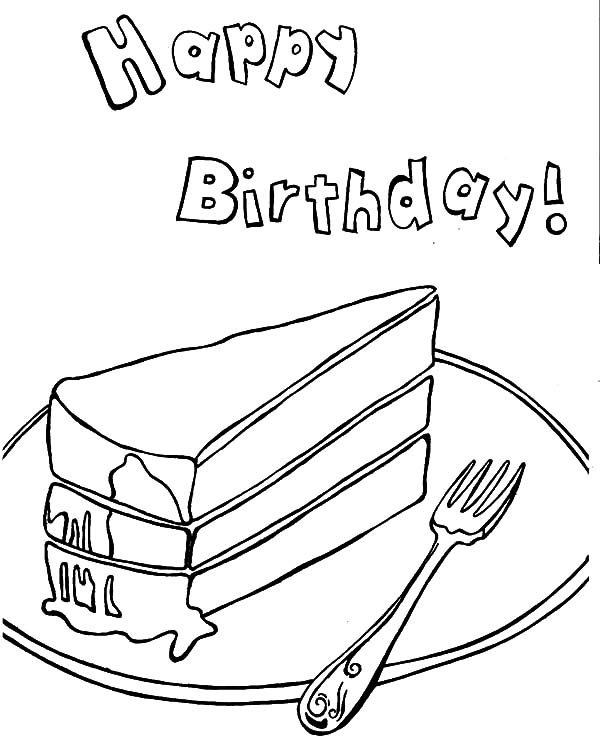 Cake Slice, : Happy Birthday Cake Slice Coloring Pages