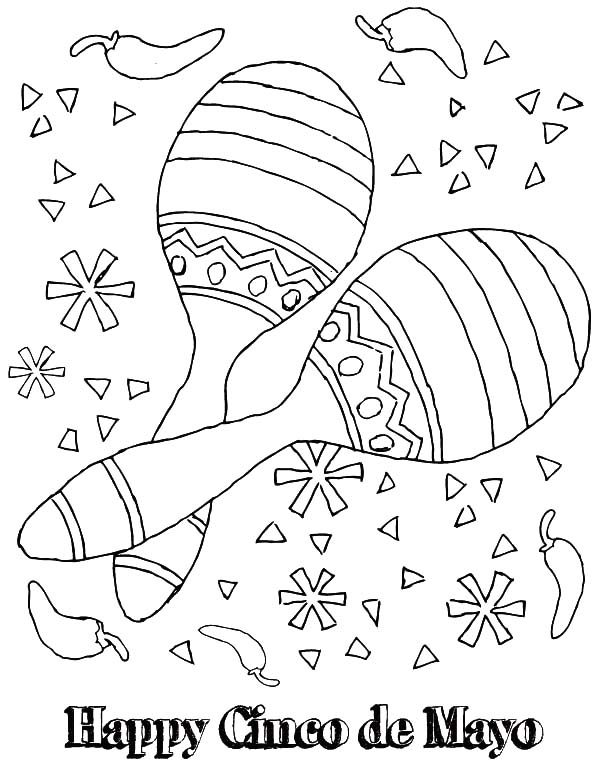 Cinco de Mayo, : Happy Cinco de Mayo with Maracas Coloring Pages 2