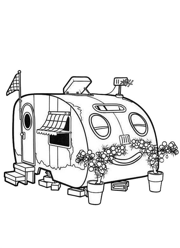 Roary the Racing Car, : Happy Rusty Smelling Flower in Roary the Racing Car Coloring Pages