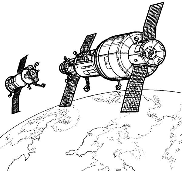 Space Travel, : Hightech Satellite Space Travel Coloring Pages