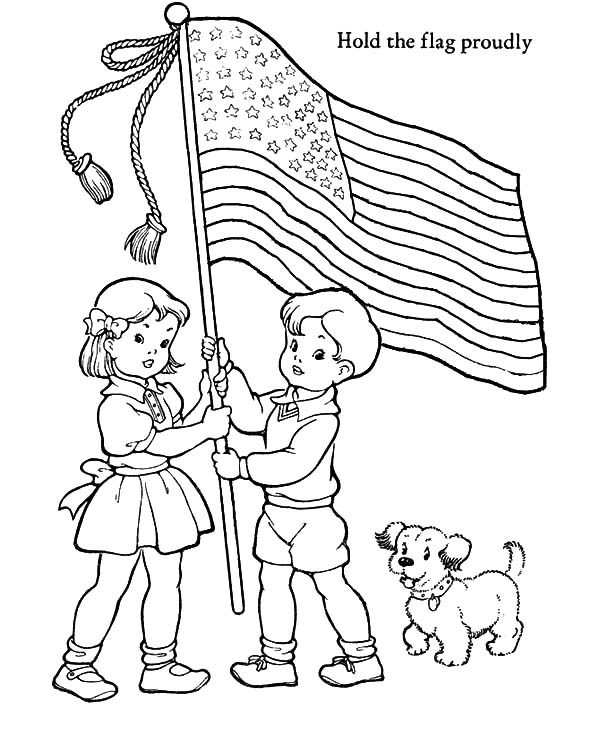hold the us flag proudly patriots day coloring pages - Patriots Coloring Pages